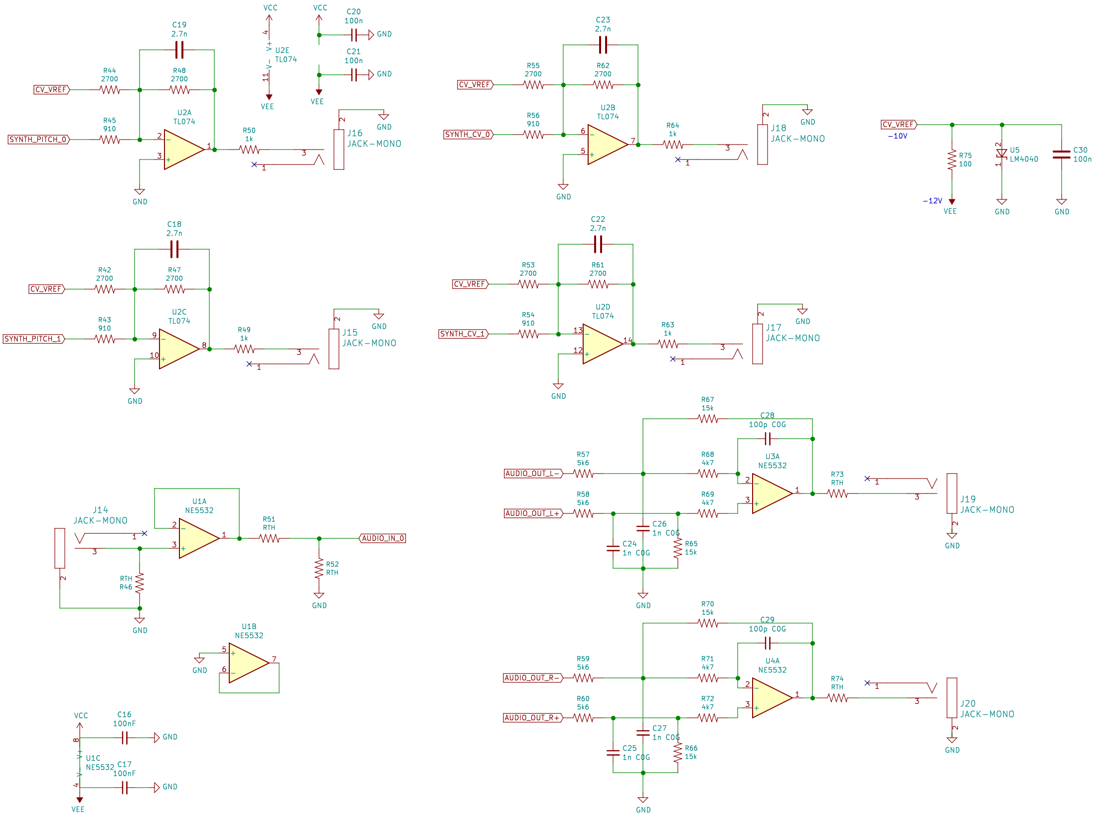 The electronic schematic for the CV outputs, and the audio input and outputs