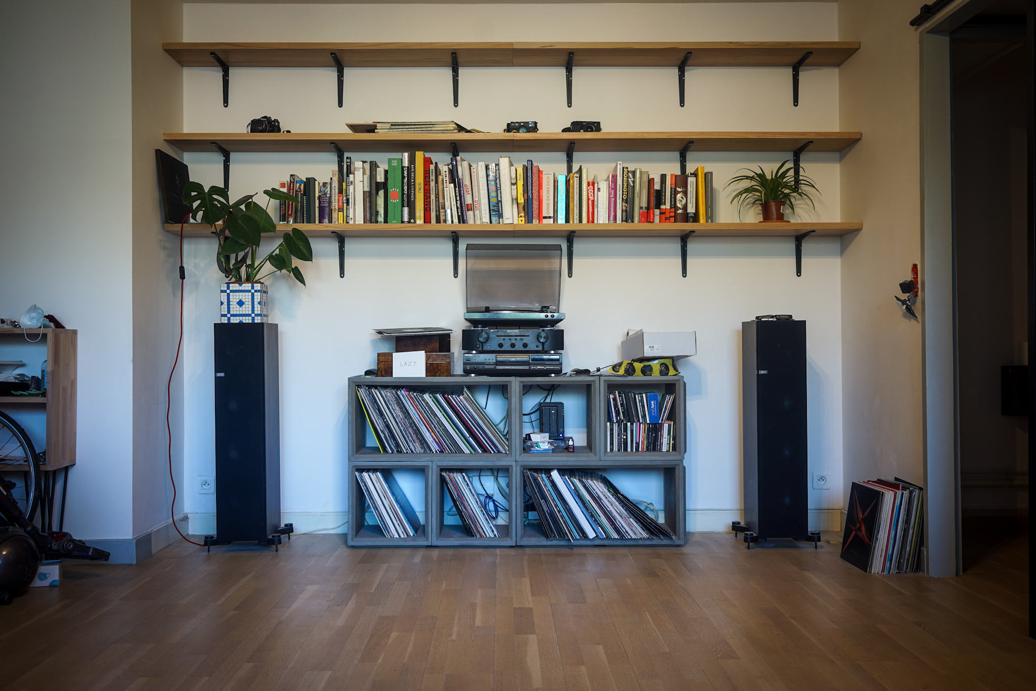 A 2/3rd empty bookshelf, a hi-fi system and my record collection